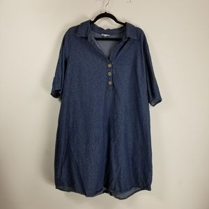 Kings Road 3/4 sleeve Jean dress 2X blue
